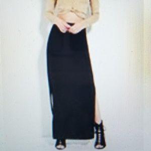 NWOT F21 High-Slit Black Maxi Skirt